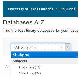 UT Libraries Databases All subjects pull down