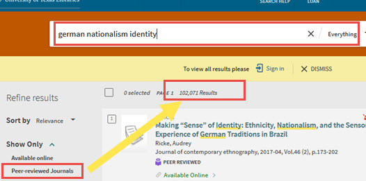 Library home page search box: german nationalism identity