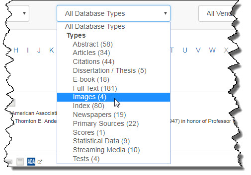Database Types drop down menu