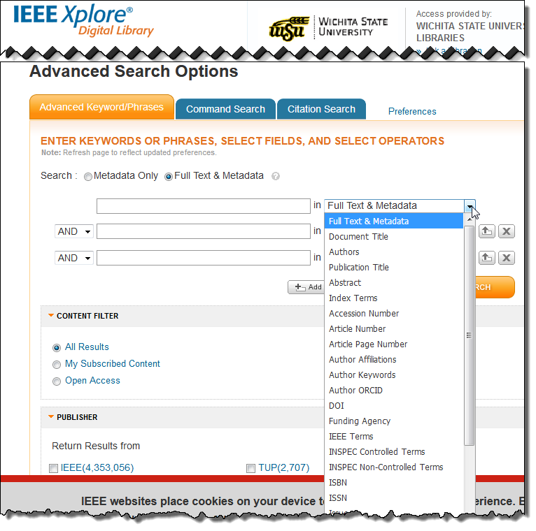 IEEE Xplore Advanced Search Screen