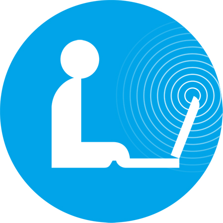 Filled blue circle with white profile of person at a laptop