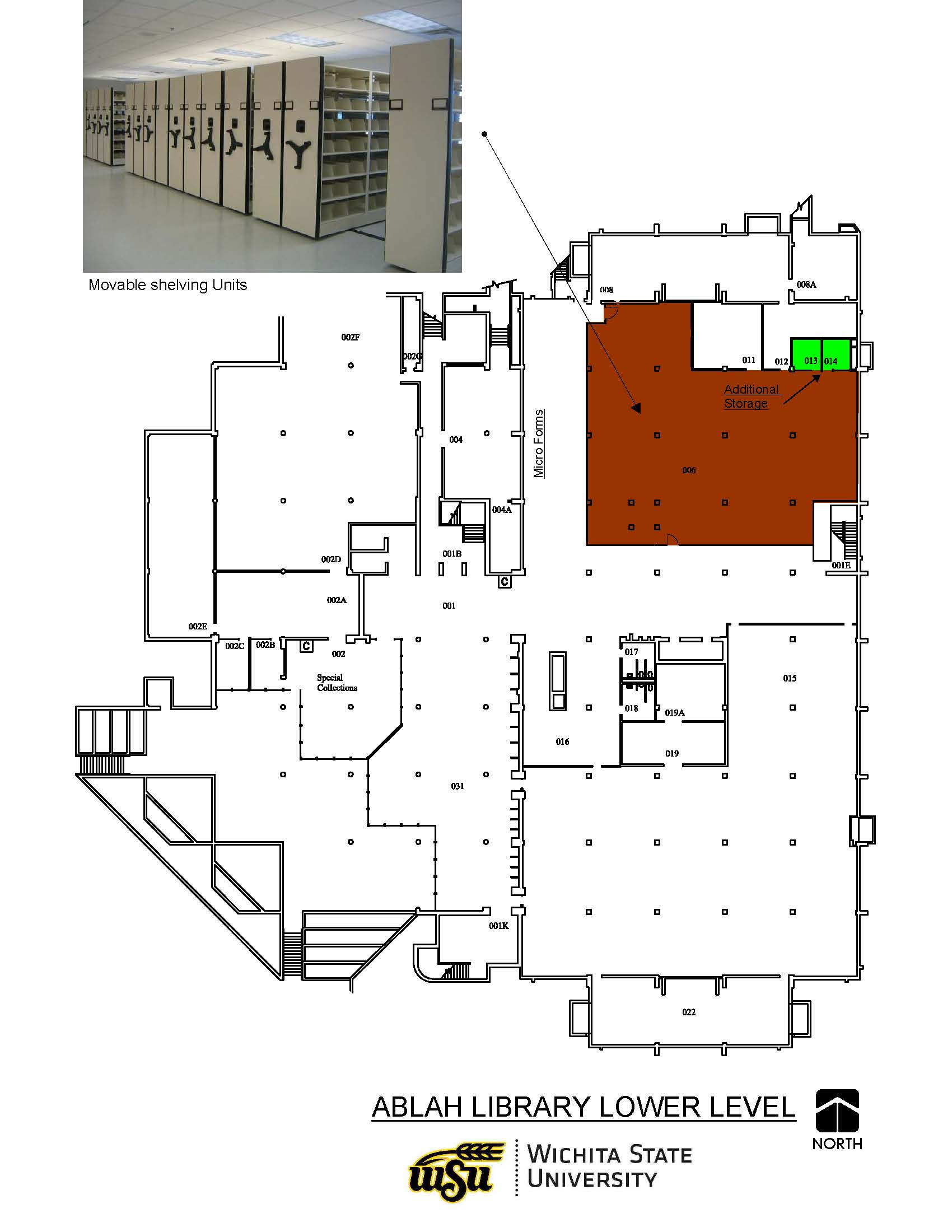 floor plan for Ablah Library's lower level