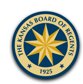 Kansas Board of Regents seal. The seal is blue and gold with a nine-pointed star inside a circle.
