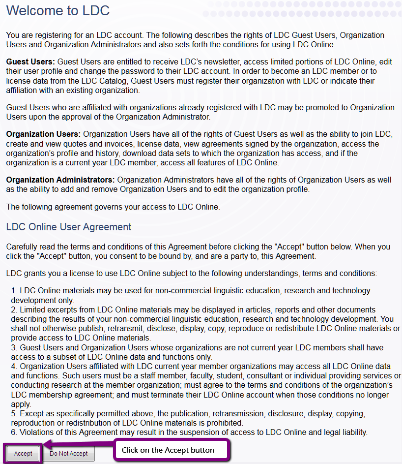 Screenshot. LDC new user rights statement
