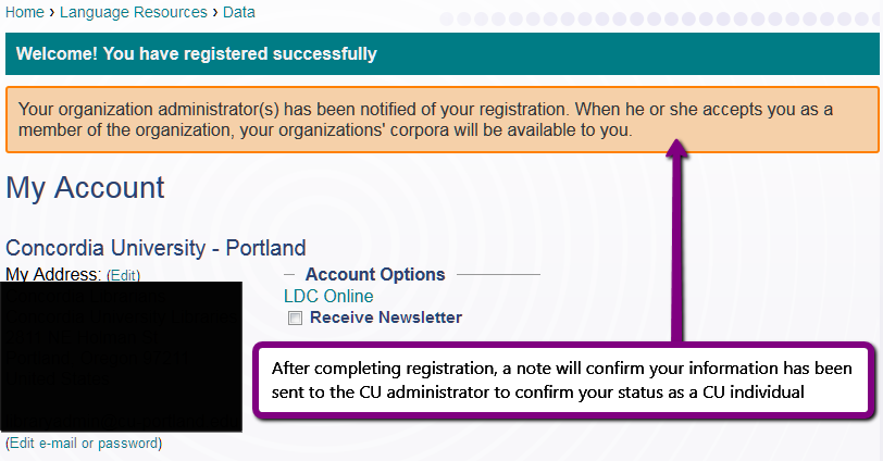 Screenshot. LDC registration confirmation page