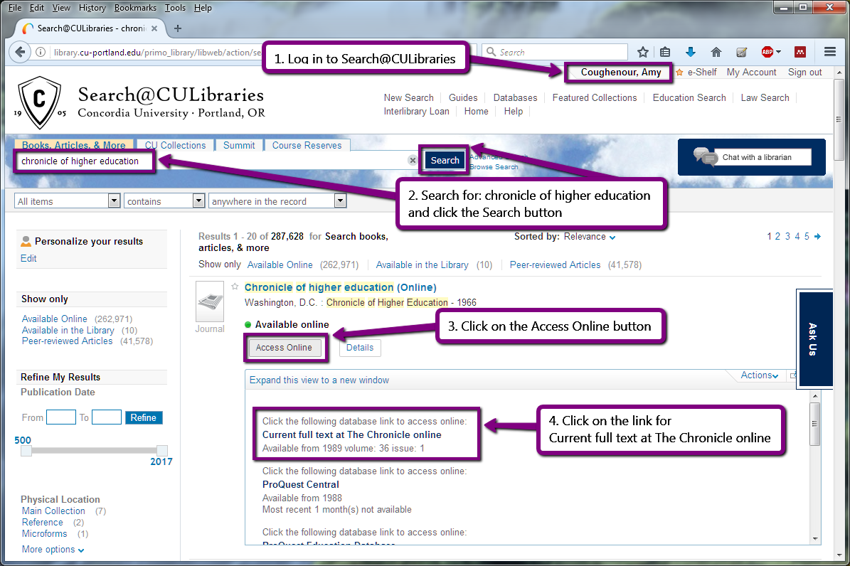 screenshot showing steps to search for Chronicle of Higher Education