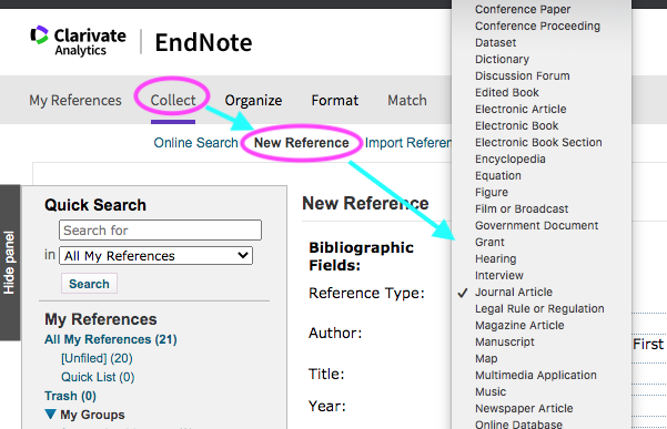 endnote collect new reference