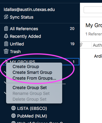 endnote my groups from left column
