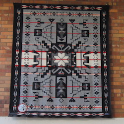 Blanket presented to Lewis & Clark College by Affiliated Tribes of Northwest Indians, entryway