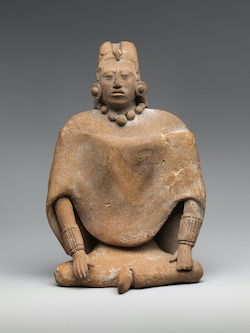 Seated female figure, Mayan, 6th-9th century. Ceramic. 7 1/8 x 5 x 3 1/2 in.
