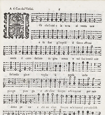 Page from C. Monterverdi's 8th book of madrigals