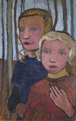 Two Girls in Front of Birch Trees, Paula Modersohn-Becker, c. 1905
