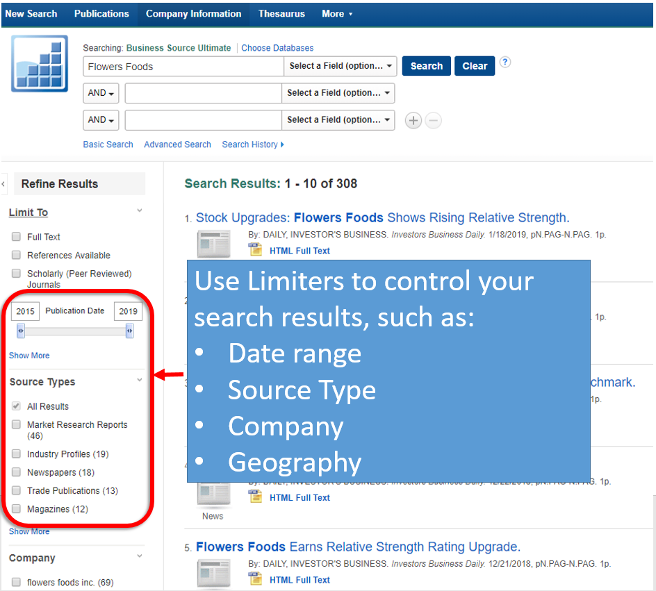 Use limiters within the tool to control your search.