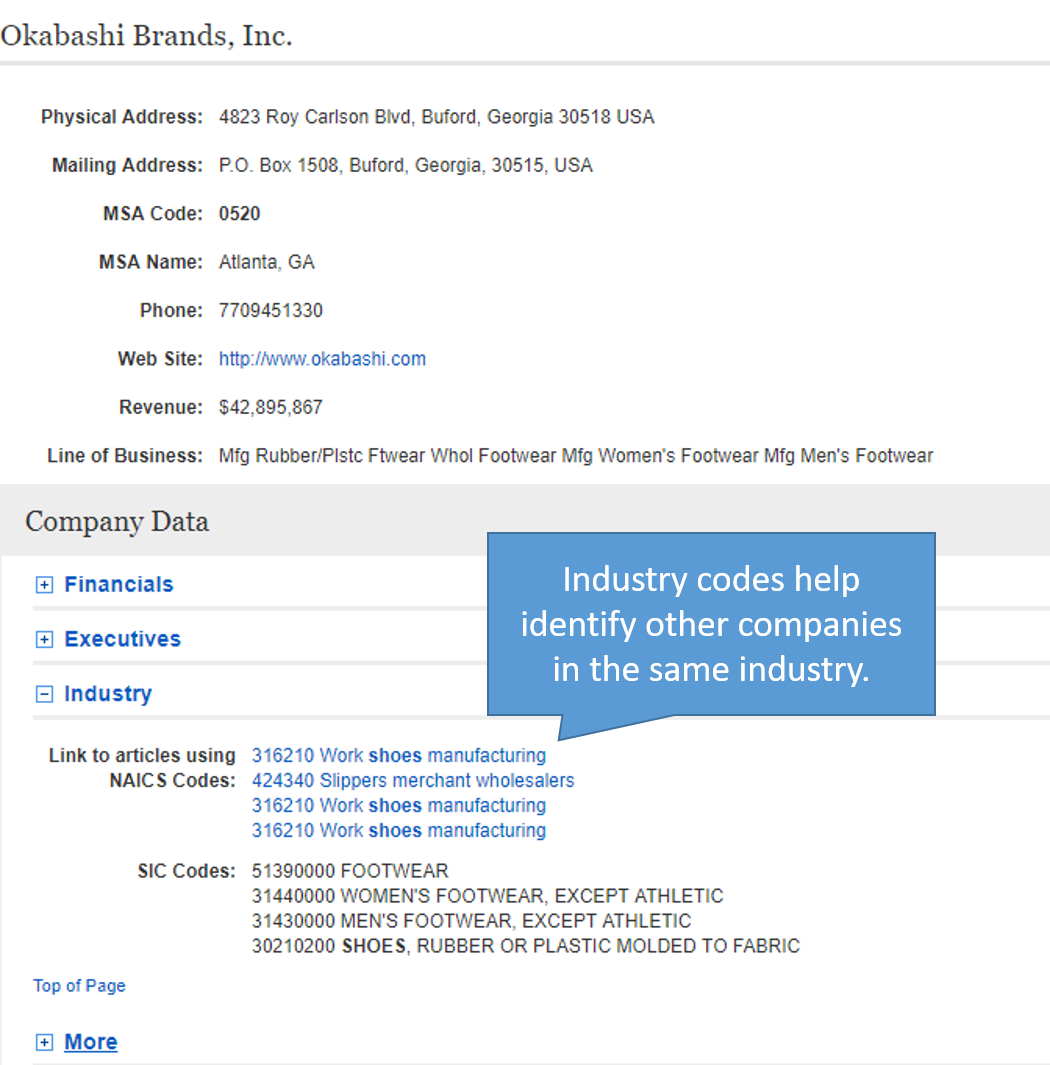 Industry codes can help you locate other companies in the same line of business.