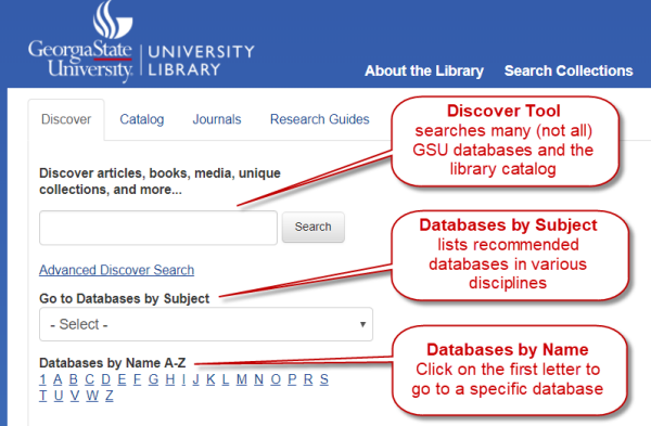 Discover Search widget on the library homepage