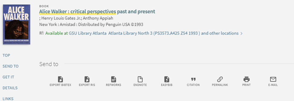 Item record in catalog shows title, author, citation information, and a citation generator.