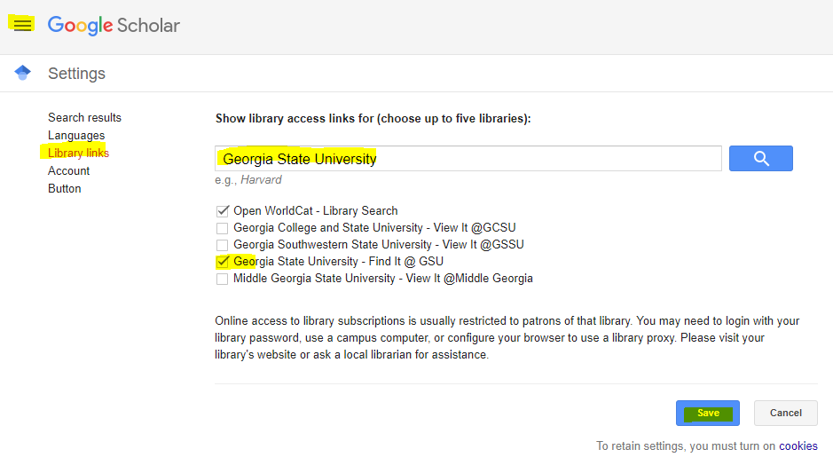 Google scholar set up screenshot