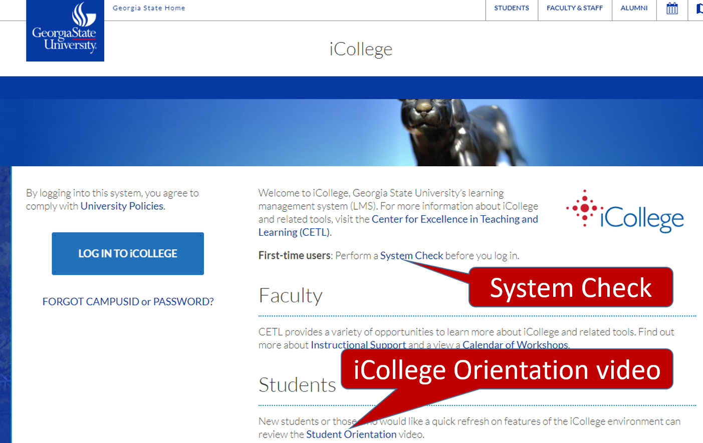 Screenshot of icollege homepage showing location of System Checker and Orientation video