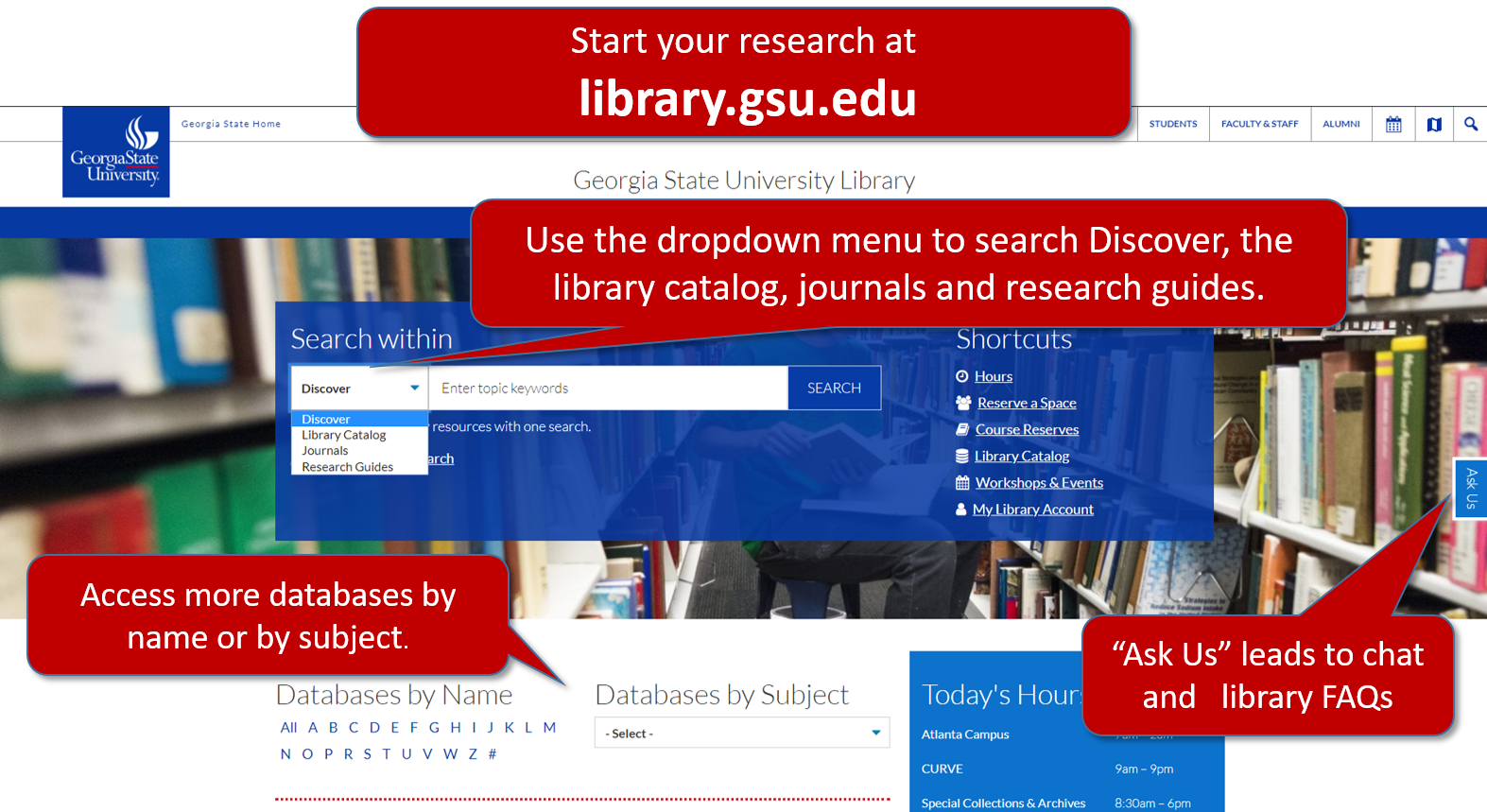 "Screenshot of library homepage showing search box with dropdown menu, more databases, and ""Ask Us"" tab."