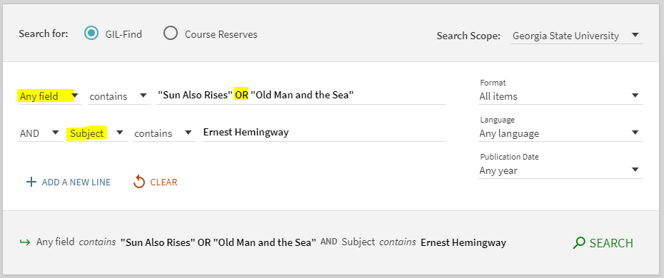 In the GIL Find advanced search, use the dropdown options to control your search