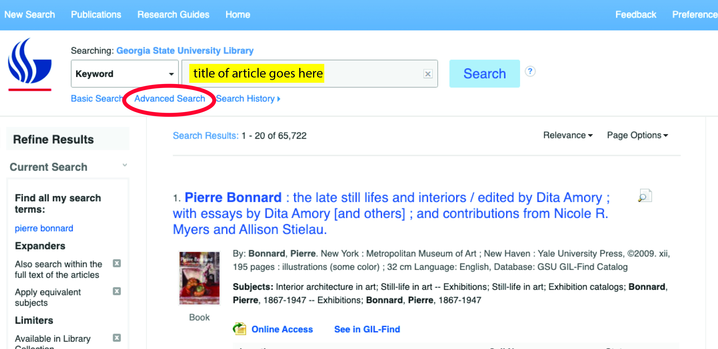 The Advanced Search link is just below the search box in the Discover search.