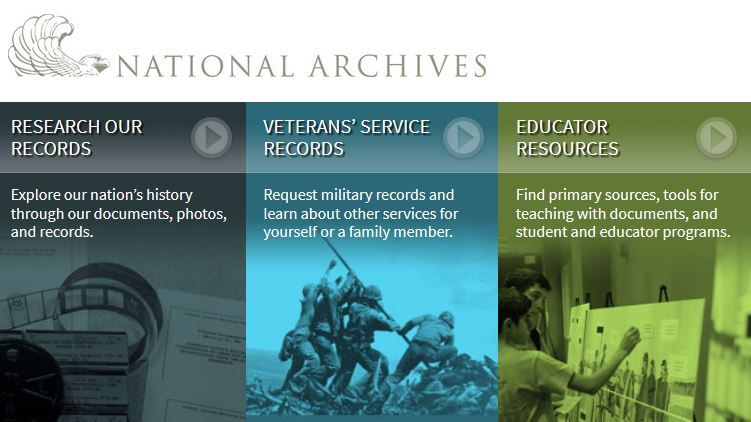 Screenshot of the National Archives website.