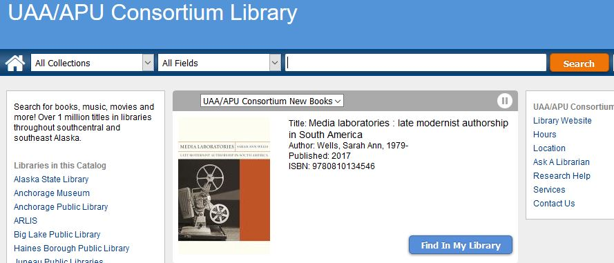 Screenshot of the Consortium Library Catalog page.
