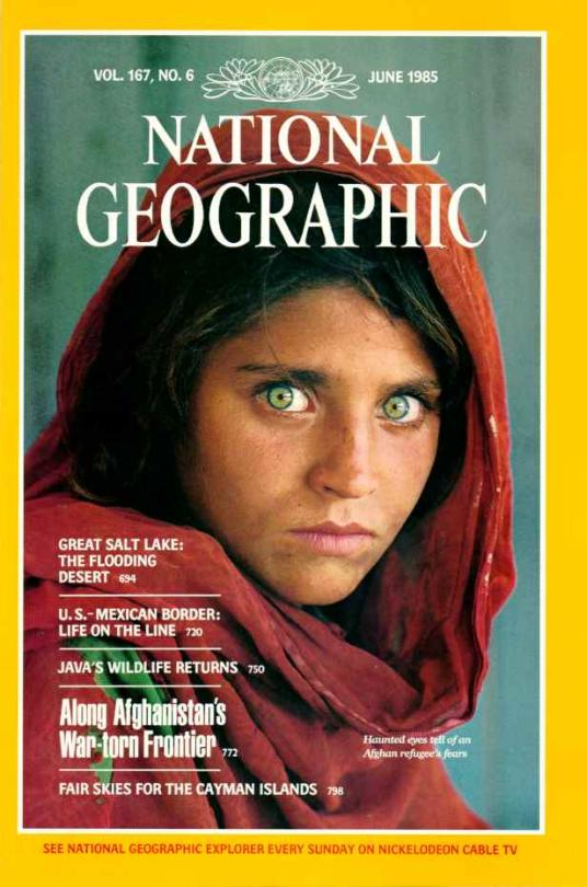 June 1985 National Geographic magazine cover with famous photo of Afghan Girl.