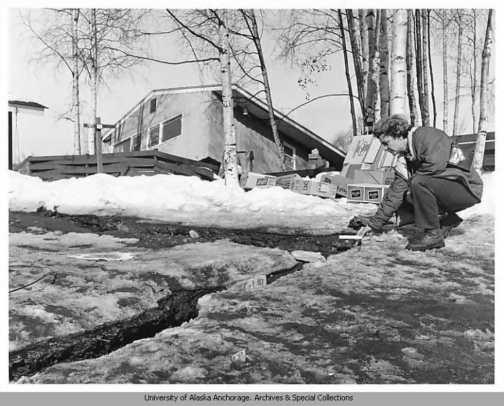 Ruth Schmidt measuring a fissure.