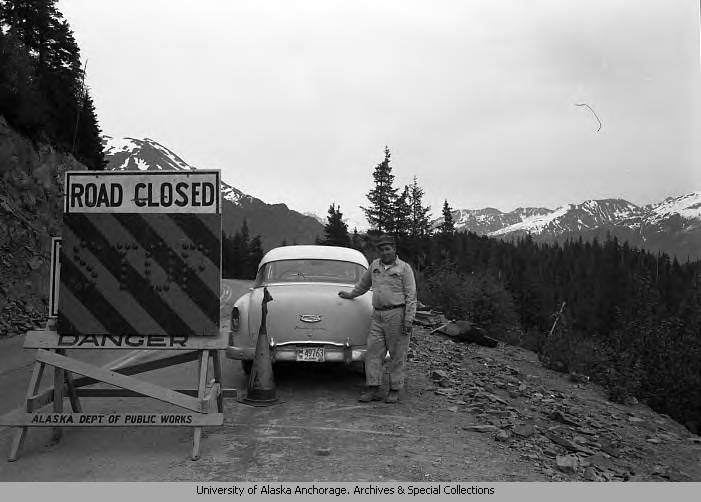 Road in Alaska after the 1964 earthquake.