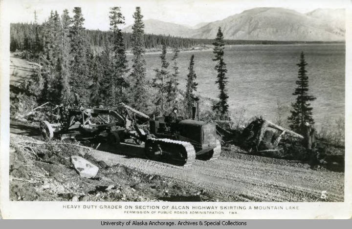 Heavy Duty Grader on Section of ALCAN Highway