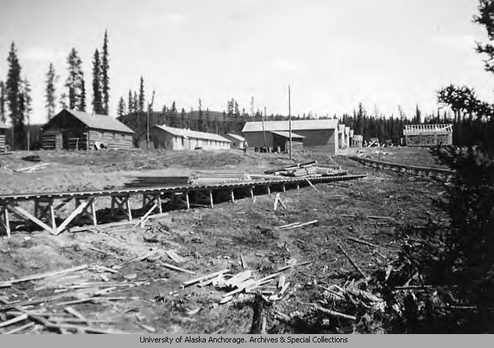 View of buildings in Alaska Highway Camp 9