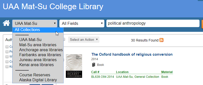 Screenshot of library catalog with search location drop-down menu open
