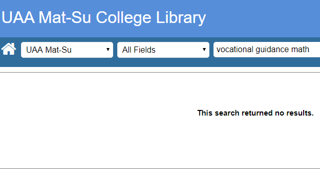 No results when searching just Mat-Su college