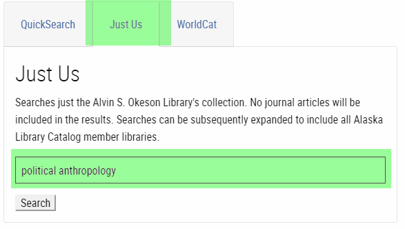 Screenshot of library page with the Just Us option selected and the term Political Anthropology entered in the search box