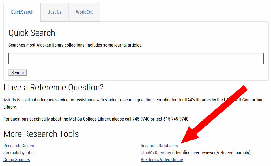 "Mat-Su College library homepage with ""Research Databases"" link highlighted"
