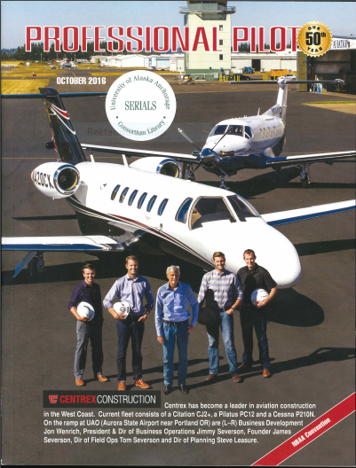 Image of the cover of Professional Pilot magazine depicting 5 people standing in front of an airplane.