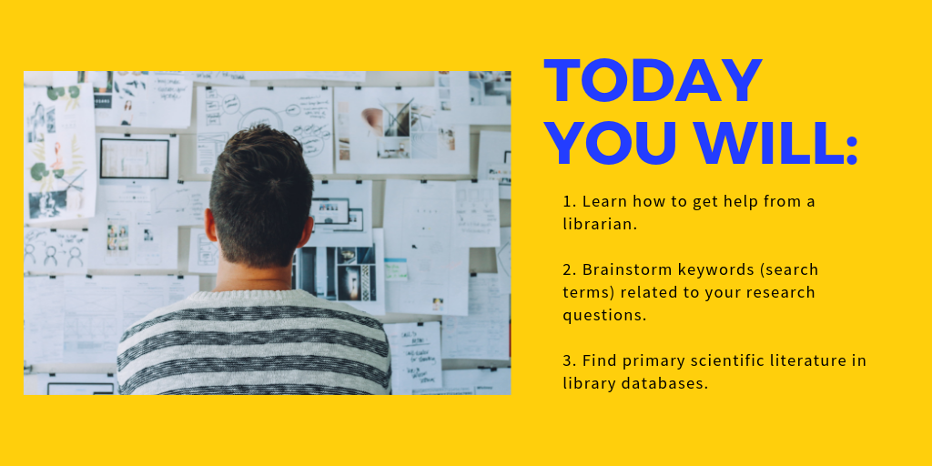 Today you will learn how to get help from a PCC librarian, brainstorm keywords related to research topics, and find primary scientific literature in library databases.
