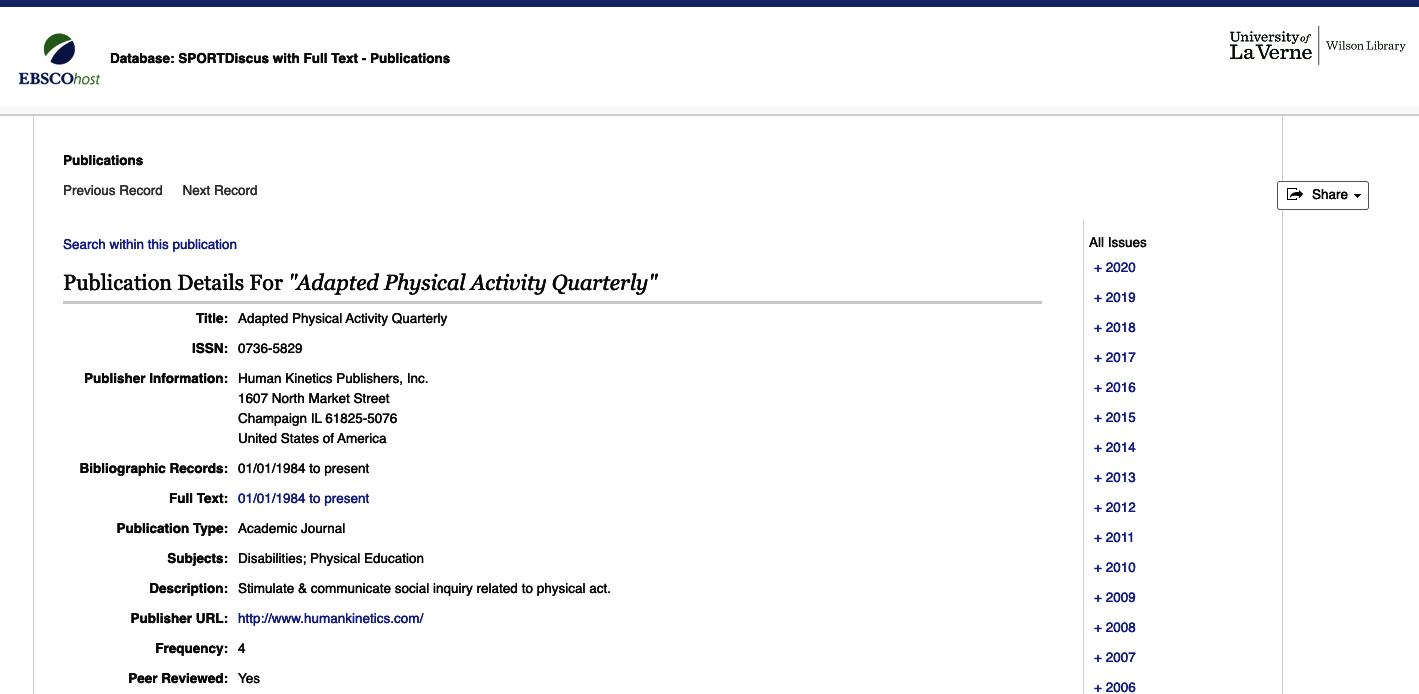 Adapted Physical Quarterly Issues in EBSCOhost