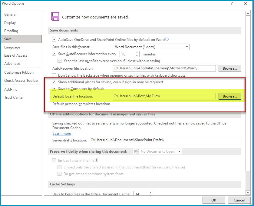 Changing default file save to BoxDrive