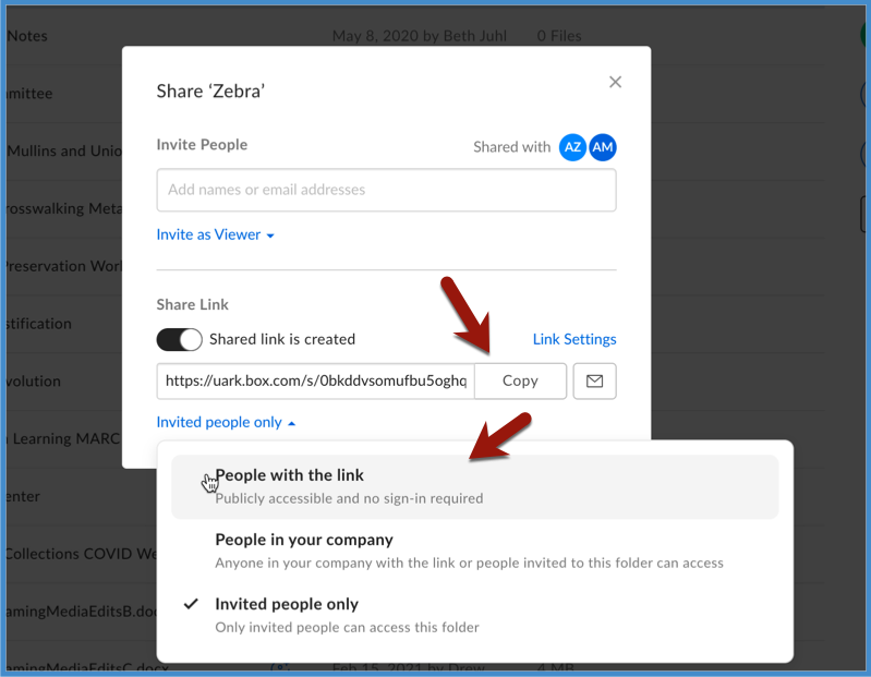 Shared Link options in Box