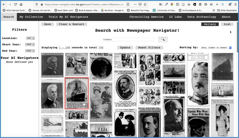Newspaper Navigator: Titanic search