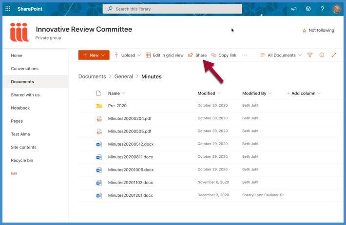 Share link in SharePoint view of Teams files.