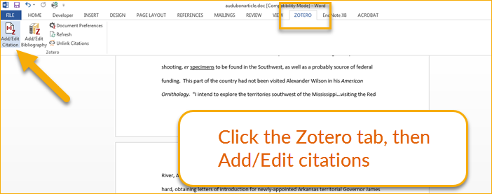 Add a citation to Word document in Zotero