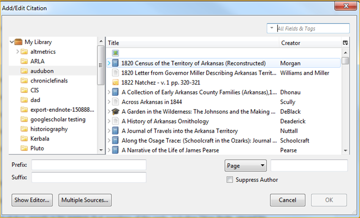 Zotero Classic View Citation Browse