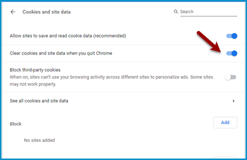 Clear cookies when you quit Chrome