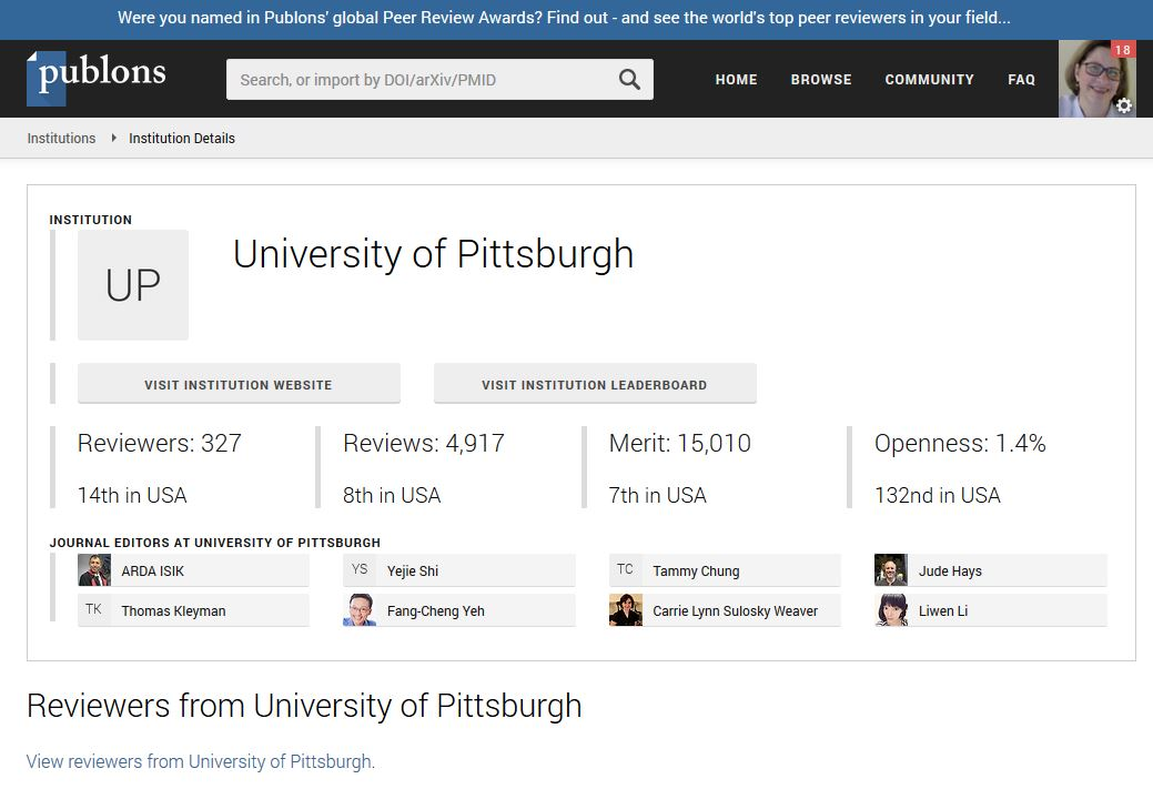 Publons Dashboard for University of Pittsburgh Reviewers