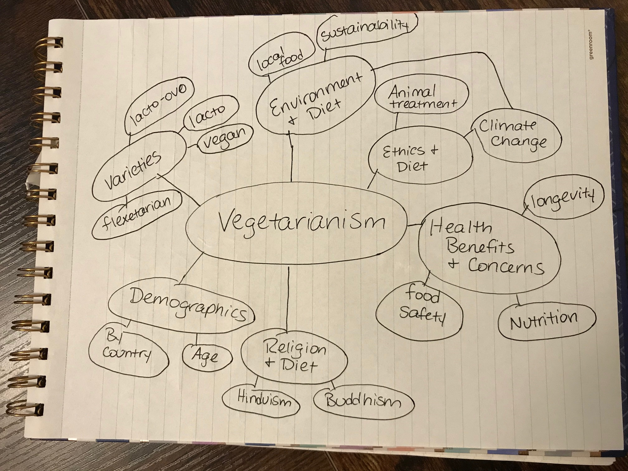 Concept map for vegetarianism. The word vegerarianism is circled in the middle with sub-topics branching off of it.