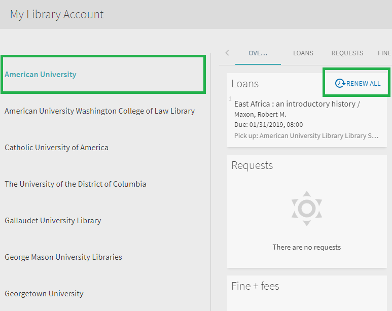 My Library Account menu highlighting American University and Renew All links