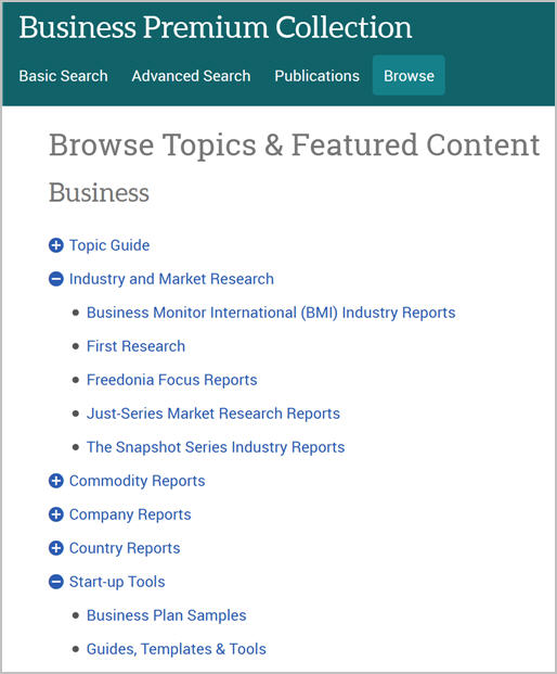 ProQuest Business Premium Collection browse topics